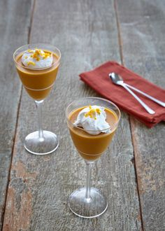 Spiced Pumpkin and Orange Mousse with Whipped Coconut Cream