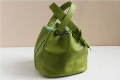 Apple green Leather Tote/shoulder bag/hand by fallinlovebags, $89.00