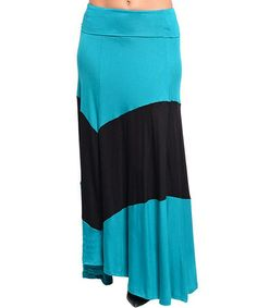 Take a look at this Blue & Black Thick Stripe Maxi Skirt - Women by Ami Sanzuri on #zulily today!