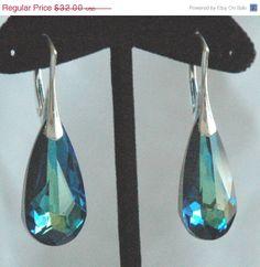 Chritsmas Sale Peacock  - Bermuda Blue Swarovski Crystal and Sterling Silver Fancy  Leverbacks Earrings, Bridesmaids Wedding Bride Bridal E. $29.44, via Etsy.