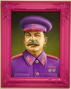 Adolf Hitler, Kim Jong-il and Joseph Stalin have all been given pink uniforms in these funny paintings by American artist Scott Scheidly. Chewbacca, Kitsch, Art Institute Of Pittsburgh, Spoke Art, Joker, Portraits, Portrait Paintings, Pop Surrealism, Illustrations