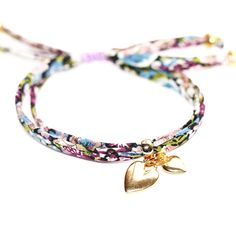 Liberty Bracelet with Two Gold Heart Charms by bijouxbeadsuk