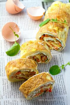 Omelette Rollups or Roulade with Smoky Fried Potatoes, Cream Cheese and Watercress