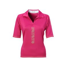 Women's Nancy Lopez Attract Embellished Golf Polo, Size: Medium, Pink