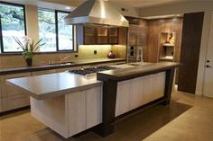 concrete counter top with white island  idea: grey cabinets w/ quartz counters for contrast to island  brown-grey-counter-stovetop-flying-turtle-cast-concrete_5998.jpg (300×200)