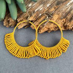 Seed Bead Earring Hoop with Fringe - Mustard Big & Bold yellow earrings! Yellow Earrings, Big Earrings, Seed Bead Earrings, Silver Hoop Earrings, Beaded Earrings, Statement Earrings, Seed Beads, Beaded Jewelry, Fringe Earrings