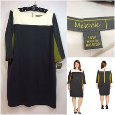 Colorblock dress - Melonie T Colorblock dress with scoop neck, 3/4 length sleeves, exposed back zipper. Polyester, rayon, spandex blend. Model images from target.com. Melonie T Dresses
