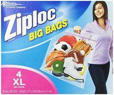 NEW Ziploc Big Bag Double Zipper, X-Large, 4-Count #Ziploc