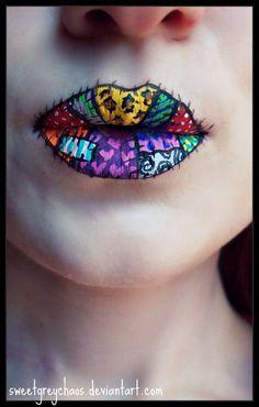 Patchwork lips face-paint