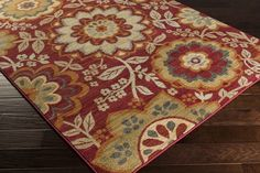 Arabesque Area Rug   Red Floral and Paisley Rugs Machine Made   Style ABS3017