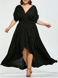 V-Neck Asymmetric Hem Ruched Plain Plus Size Midi & Maxi Dress – chicwestyle maxi dress plus size formal floral casual plus size maxi dresses maxi dress plus size fall maxi dress plus size boho floral dress plus size High Low Prom Dresses, Black Prom Dresses, Casual Dresses, Short Dresses, Dress Black, Pageant Dresses, Dresses Dresses, Lounge Dresses, Plus Size Dresses