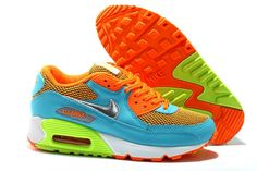 Nike Air Max 90 Women's Shoes Orange / Light Blue / Volt / White