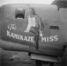 "Liberator ""The Kamikaze Miss"" nose art - Aircraft design Nose Art, Military Art, Military History, Photo Avion, Rockabilly, Pin Up, Airplane Art, Airplane Crafts, Aircraft Painting"