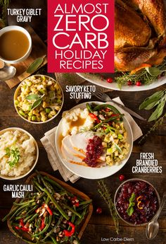 Celebrate with a 5-carb plate! 35+ Holiday recipes with almost no carbs. Drinks, sauces, spreads, gravy, bread, stuffing, starters, sides, main courses and of course - desserts. Please every palate and serve gorgeous keto holiday recipes.