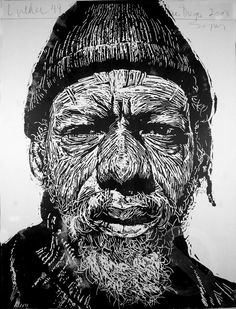 Neil Shigley ~ Luther, 49, 2008 (block print)