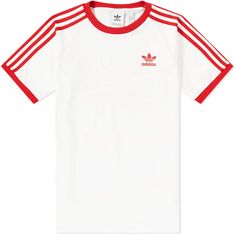 Buy the Adidas 3 Stripe Tee in White & Power Red from leading mens fashion retailer END. - only Fast shipping on all latest Adidas products Red Adidas Pants, Adidas Shirt Mens, Addidas Shirts, Adidas Outfit, Adidas Women Shirts, Adidas Shoes, Shirt Outfit, T Shirt, Cute Comfy Outfits