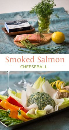 Smoked Salmon Cheeseball - The must-make cheeseball for any New Year's Eve party! Smoked salmon, chopped chives & cream cheese get rolled in lemon zest, seasonings & dill. Easy to make a day ahead and have ready. Great appetizer to serve with crackers and veggies!