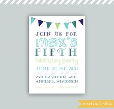 Digital Printable Birthday Invitation Card Blue by SweetPotatoShop, $10.00