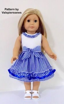 Ruffle Party Dress to fit Popular Dolls - Sewing Patterns at Makerist American Girl Dress, American Doll Clothes, Ag Doll Clothes, Doll Dress Patterns, Baby Clothes Patterns, Clothing Patterns, Sewing Patterns, Girl Dolls, Kids Outfits