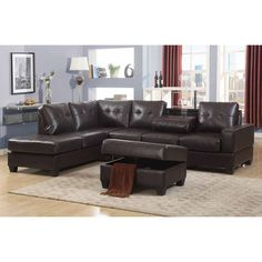 Maria Dark Brown Faux Leather 3-piece Reversible Sectional Living Room Sofa Set, with Storage Ottoman, and Drop-down Table