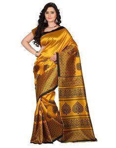 Gold Indian Handicrfats Export Self Design Mysore Art Silk Saree
