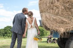 Charlie and Sarah's Devon wedding was fun from beginning to end, with a huge party in a barn to boot! And it all began in a hot air balloon...