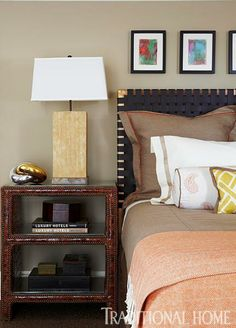 Guest bedroom by Joseph Cortes & Kevin Marnell for the 2013 Red Cross Designer Showhouse - faux crocodile bedside table, woven leather and brass-accented headboard