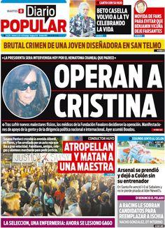 La salud de la presidente Cristina Fernández ocupa la mayoría de los titulares de los diarios del país pero también hay otros temas que llaman la atención de los argentinos y Diario Popular te los lleva directo a tu pantalla http://www.diariopopular.com.ar/