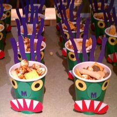 Go Away Big Green Monster Snack Cups Monster Snacks, Monster Activities, Monster Munch, Monster Party, Monster Theme Classroom, Classroom Themes, Kindergarten Classroom, Halloween Fun, Preschool Halloween