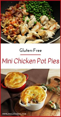 Gluten-Free Mini Chicken Pot Pies - We love little casserole pots as they can turn a typical casserole dinner into a slightly more fancy affair. Real Food Recipes, Cooking Recipes, Healthy Recipes, Yummy Food, Gluten Free Baking, Gluten Free Recipes, Gf Recipes, Gluten Free Casserole, Gluten Free Dinner