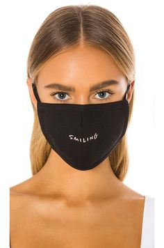 Shop for GRLFRND Protective Face Mask in Smiling at REVOLVE. Free day shipping and returns, 30 day price match guarantee. Face Mask Set, Best Face Mask, Diy Face Mask, Popular Clothing Brands, Black Mask, Celebrities, Pretty, Beauty, Masks