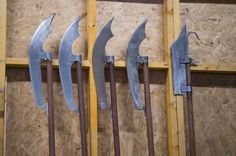 ...typical highland weapons, called Lochaber Axe (ri) and halbards (on the left9