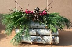Large Triangle Birch Logs Decorated by EvergreensByDesign on Etsy, $42.00