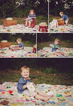 Bookworm Birthday Photo Shoot - 2 year photos www.heatherdeprattphotography.com