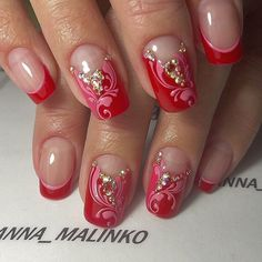 From general topics to more of what you would expect to find here, nail-art-stickers. Crazy Nails, Love Nails, Pink Nails, Pretty Nails, French Nails, Gem Nails, Different Nail Designs, Nagel Gel, Beautiful Nail Designs