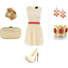 Lace dress with Coral belt, created by sdezutter on Polyvore
