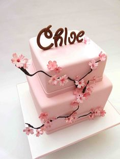 Two tiers covered in fondant. Gumpaste hand-made cherryblossom flowers and name. Pretty for any girl or teen. Pretty Cakes, Beautiful Cakes, Amazing Cakes, Cherry Blossom Party, Cherry Blossoms, Pink Birthday Cakes, Girl Birthday, 50th Cake, Cherry Baby