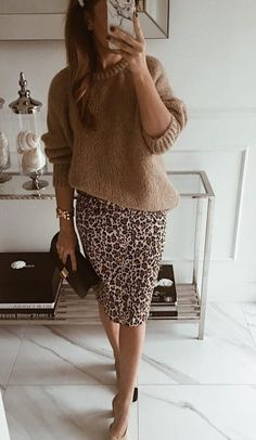 how to style a leopatd pencil skirt : heels brown knit sweater - fashion & acces. - how to style a leopatd pencil skirt : heels brown knit sweater – fashion & accessories – - Mode Outfits, Fall Outfits, Casual Outfits, Fashion Outfits, Womens Fashion, Skirt Fashion, Casual Shoes, Fall Dresses, Casual Chic