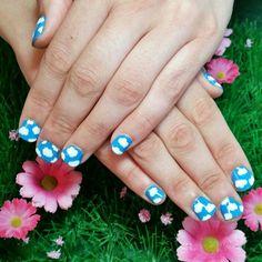 Cloud nail art on natural nails. www.kawaiiklaws.com