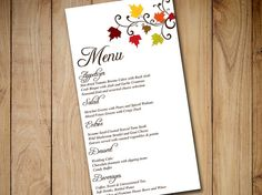 fall wedding menu card template download wedding reception menu