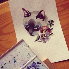 Cat watercolor tattoo by Sasha Unisex
