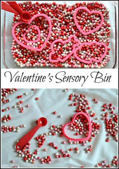 Simple sensory play for Valentine's Day using dyed chickpeas from And Next C. Valentine Sensory, Valentine Theme, Valentines Day Activities, Valentines Day Party, Funny Valentine, Sensory Boxes, Sensory Play, Sensory Table, Sensory Activities