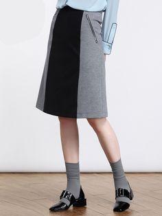 #AdoreWe #StyleWe Moonbasa Lady Casual Color-block A-line Midi Skirt - AdoreWe.com