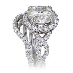 Morganite 10mm round halo diamond twist shank infinity engagement ring rose gold