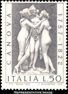 Italian postage stamp from 1972 commemorating Canova, with image of his sculpture The Three Graces.