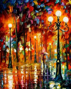 """Lonely night"" by Leonid Afremov ___________________________ Click on the image…"