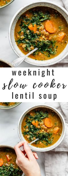 This weeknight slow cooker lentil soup recipe is made in a crockpot for an easy and hassle-free dinner! [Vegan & gluten-free] This weeknight slow cooker lentil soup recipe is made in a crockpot for an easy and hassle-free dinner! Slow Cooker Lentil Soup, Vegan Slow Cooker, Lentil Soup Recipes, Healthy Crockpot Recipes, Vegetarian Recipes, Weeknight Recipes, Vegan Lentil Soup, Slow Cooker Soup Vegetarian, Recipes Dinner