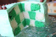 Green Velvet Checkerboard Cake by Munchkin Munchies.