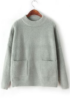 64b7cc89290 Light Grey Long Sleeve Winter Sweaters