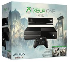 Xbox One Assassin's Creed Unity Bundle - Kinect Sensor Edition. What's in the box: Xbox One console; Assassin's Creed Unity download token; Assassin's Creed IV: Black Flag download token; Kinect Sensor with Dance Central Spotlight; wireless controller; chat headset; HDMI cable; power supply